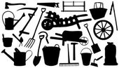 Farm tools silhouettes — Stock Vector