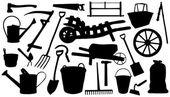 Farm tools silhouettes — Stock Vector