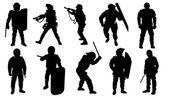 Police silhouettes — Stock Vector