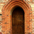 Enigmatic wooden gate — Stock Photo