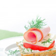 Royalty-Free Stock Photo: Ham sandwich with tomato and cheese