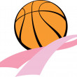 Breast Cancer Awareness Ribbon with Basketball — Stock Vector