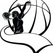 Girl Basketball Shooter with Pennant - Stockvectorbeeld