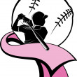 Girl Softball Batter with Pink Ribbon — Stock Vector