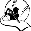 Girl Softball Batter with Pennant - Stock Vector