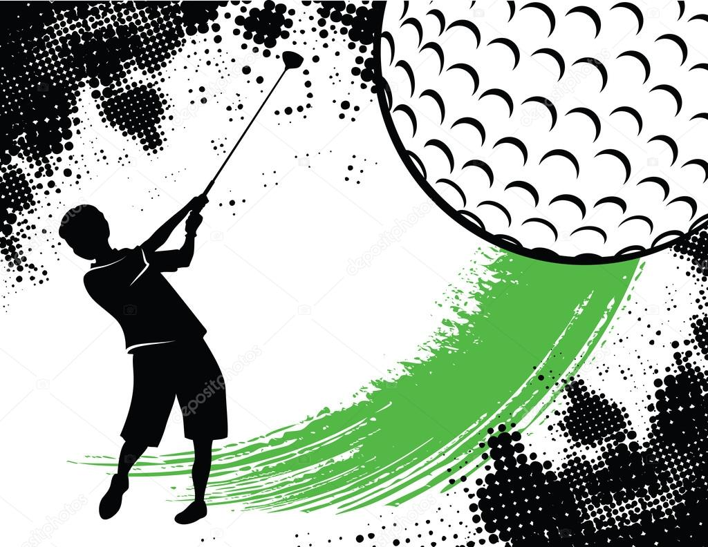 Golf background illustration includes a silhouette of a boy teeing off, a large partial, stylized golfball , a green swoosh and a black half-tone grunge pattern.  Stock Vector #14346471