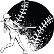 Girl Softball Batter - Stock Vector