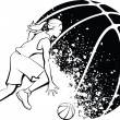 Girl Basketball with Grunge Ball — Stock Vector