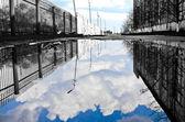 The grey world of blue sky — Stock Photo