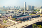 Tokyo Travel: Odaiba (Daiba) cityscape with tilt shift lens effect — Stock Photo