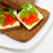 Red caviar appetizer — Foto Stock