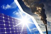 Zonnecellen in plaats van fossiele brandstoffen — Stockfoto