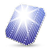 Solenergi panel med solen reflektion isolerade — Stockfoto