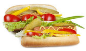 Hot dog with fresh vegetables — Stock Photo