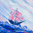 Ship with crimson sails — Stock Photo
