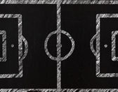 Soccer field, drawing on a blackboard — Stockfoto