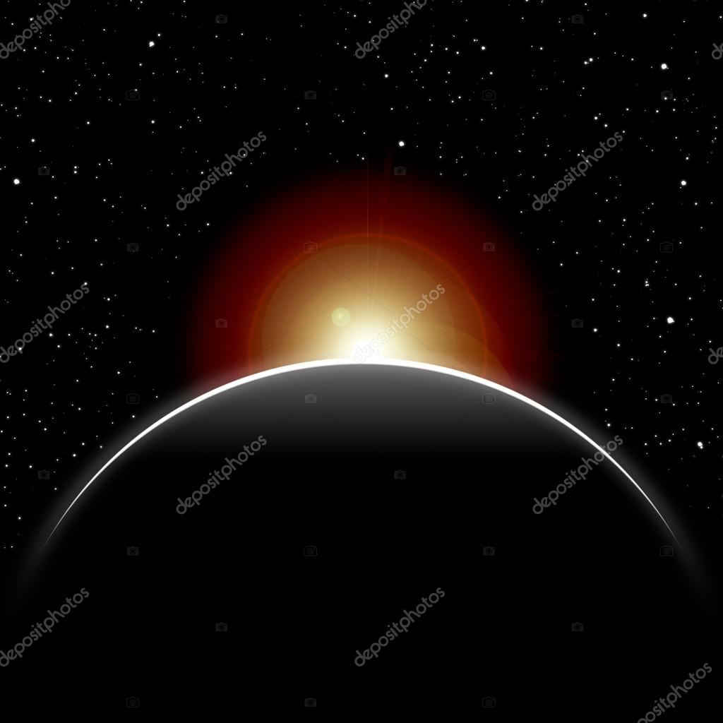 Eclipse, part of the sun closed by dark planet, stars in the night sky  Stock Photo #12740470