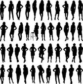 Woman silhouettes collection isolated over white background — Stock Vector