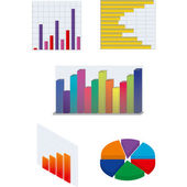Set di diagrammi vettoriali isolate per affari e finanziario repor — Vettoriale Stock
