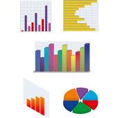 Verzameling van geïsoleerde vector diagrammen voor zakelijke en financiële versla — Stockvector
