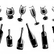 Stock Vector: Alcoholic glass collection