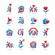 Happy family set of icons — Stok Vektör