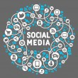 Social media, background of icons vector — Vecteur #12662226