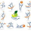 Fitness logos and elements сollection — Stock Vector