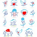 Happy family set of icons — Stock Vector