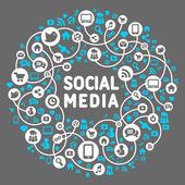 Medios de comunicación social, fondo del vector iconos — Vector de stock