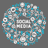 Social media, background of the icons vector — Stockvektor