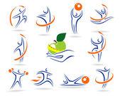 Aptitud logotipos y elementos ollection — Vector de stock