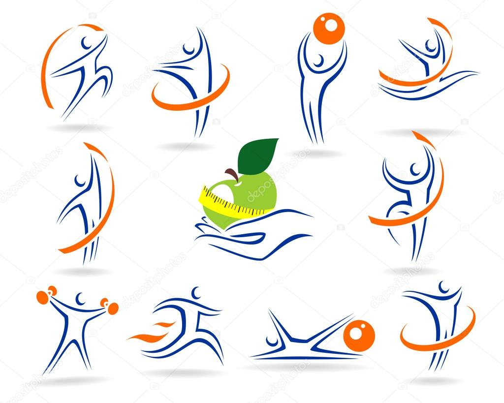 Fitness logos and elements сollection — Stock Vector #12662700
