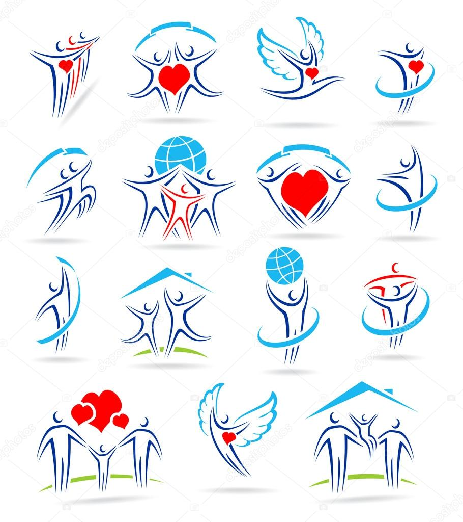 Happy family set of icons — Stock Vector #12662701