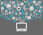 Sfondo di rete sociale del vettore icone — Vettoriale Stock