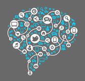 ソーシャル ネットワークのアイコンのベクトルの背景 — ストックベクタ
