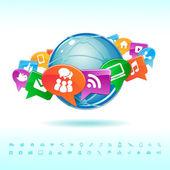 Social bakgrund nätverk av ikoner vektor — Stockvektor
