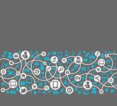 社会的なメディア、グローバルなコンピュータ ネットワークでの通信 — ストックベクタ