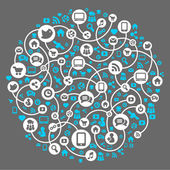 Mídias sociais, comunicação em redes globais de computador — Vetorial Stock