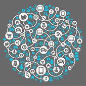 Sosyal medya, iletişim global bilgisayar ağlarında — Stok Vektör