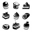 Sweet cakes set — Stock Vector
