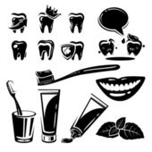 Dental element and Icons set. Vector — Stock Vector