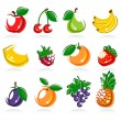 Stock Vector: Collection of fruits set. Vector illustration