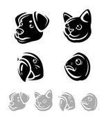Pets set. Vector icons — Stock Vector