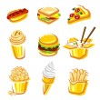 Fast food set. Vector — Stock Vector