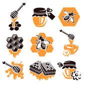 蜂蜜セット。ベクトル — ストックベクタ