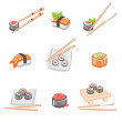 Stock Vector: Sushi set. Vector