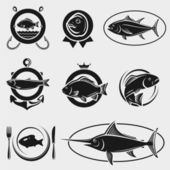 Fish stamps and labels set. Vector — Stock Vector