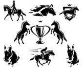 Horse set. Vector — Stock Vector