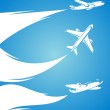 Airplane collection and blue background. Vector — Stock Vector